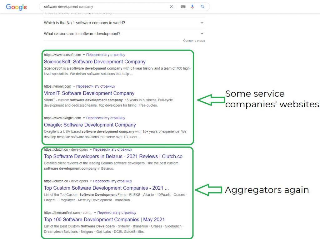 Aggregator wesbite development. A screenshot of search results.