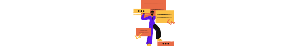 Aggregator website meaning. A drawn man deals with incoming several notifications