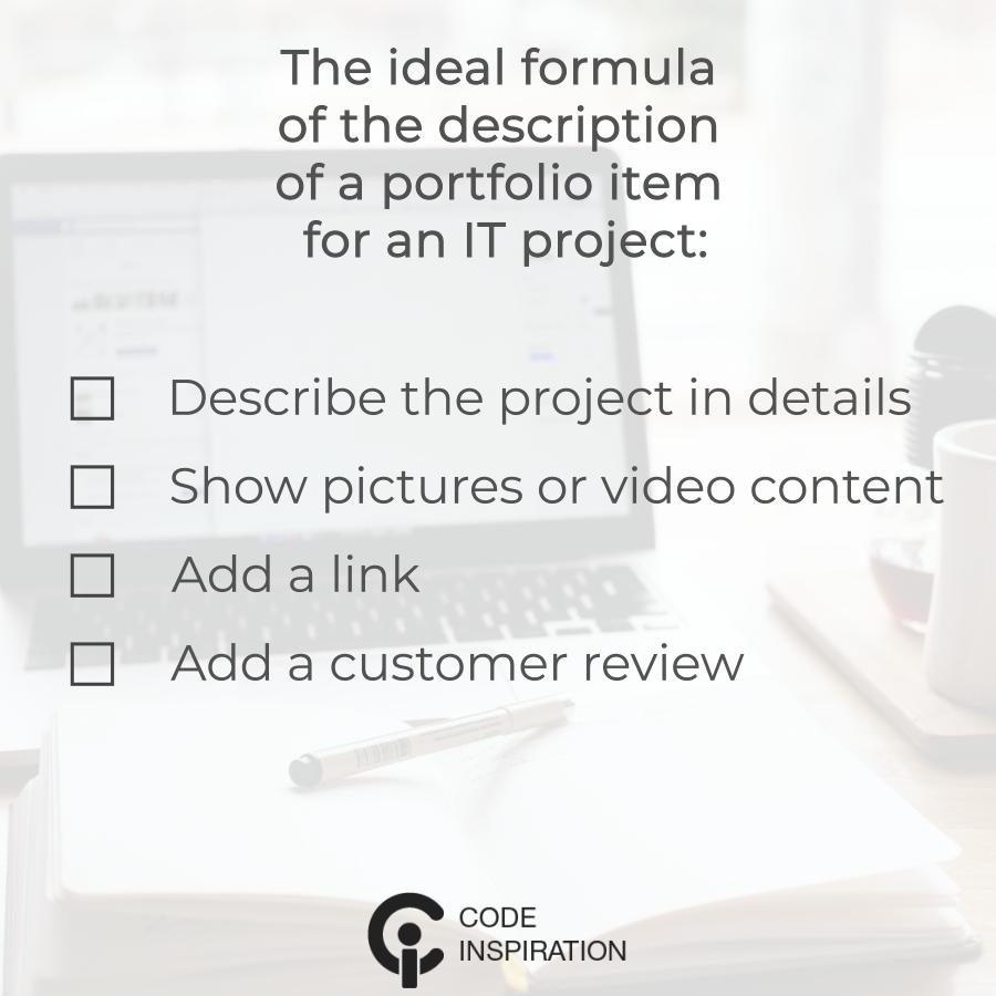 portfolio project description description, ideal formula
