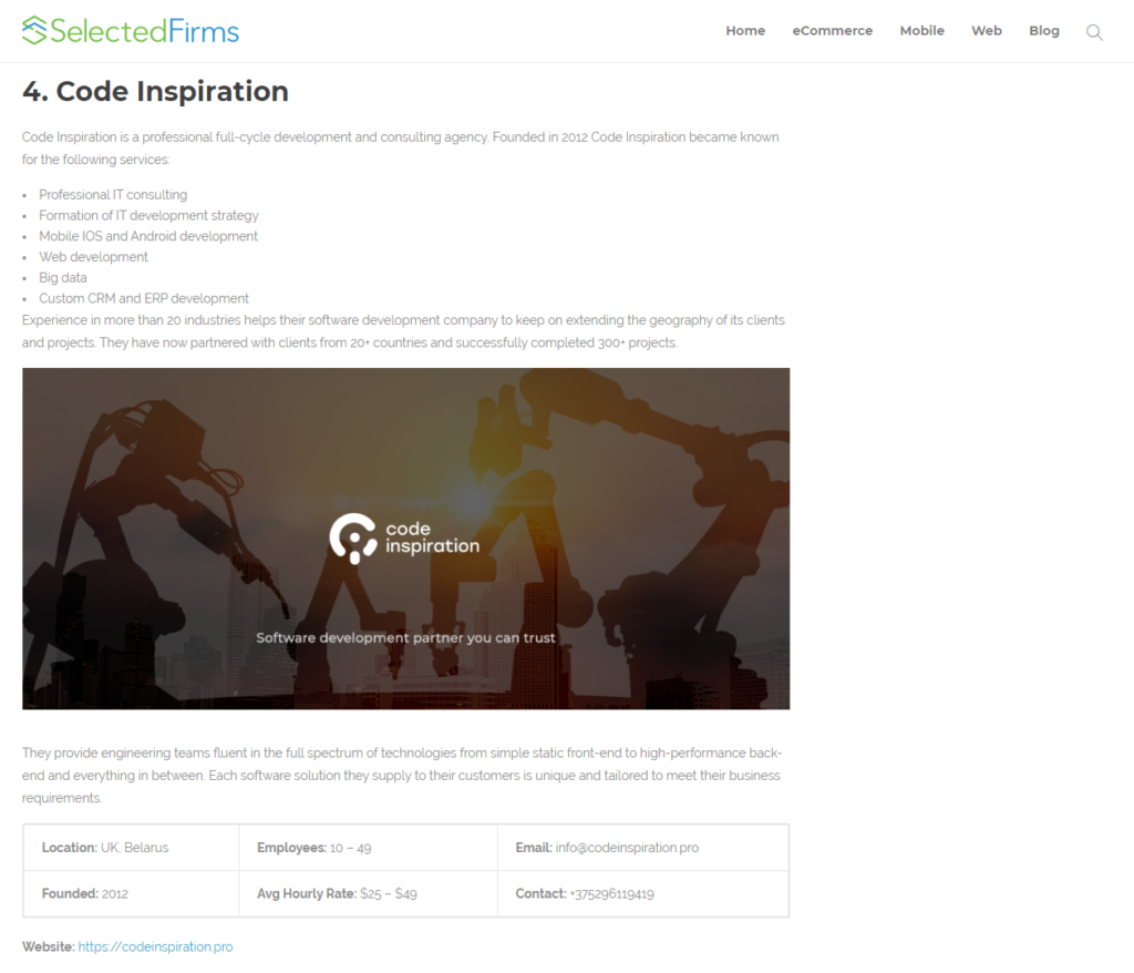 Code Inspiration is among top web development companies.