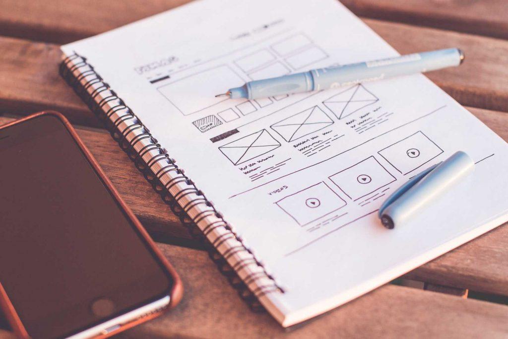 B2B web design tips. A phot of designer's sketches.