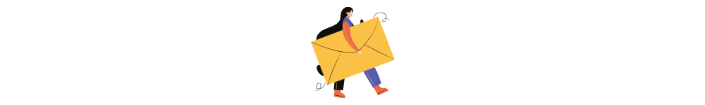 Software development outsourcing knowledge base. A drawn woman brings a letter.