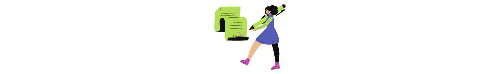 Software development outsourcing guide. Drawn woman signs a document