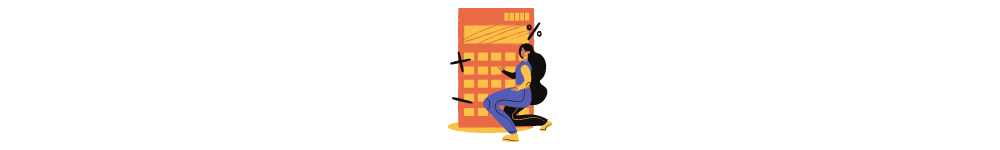 Guide to software development outsourcing. Drawn woman calculates something