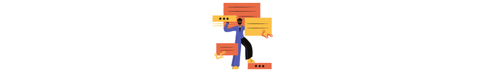 guide to software development outsourcing. Drawn man and pop-up notifications