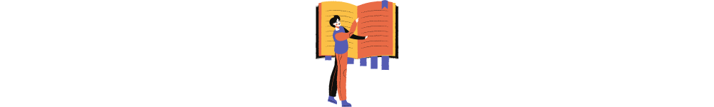 Software development outsourcing knowledge base. A drawn man is reading a book
