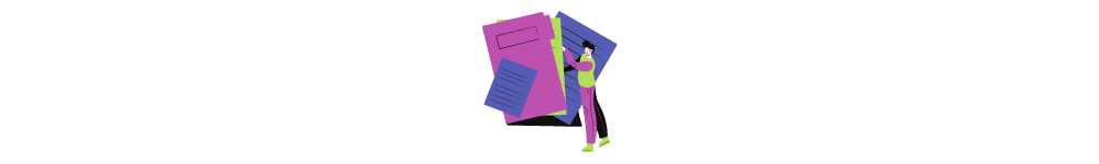 Guide to software development outsourcing. Drawn woman works with official documents