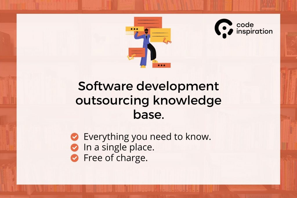 Software development outsourcing guide. Main image with the text.